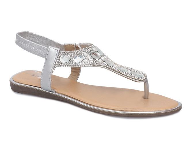 078dec9a300824 Srebrne płaskie sandały z diamentami Larissa   Obuwie Gemre online