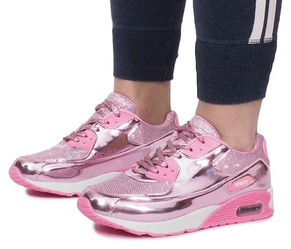 Różowe Błyszczące Buty Sportowe Flash