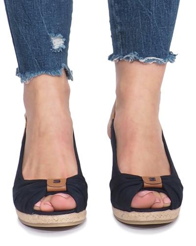 45c35246e9cd88 Granatowe sandały na koturnie espadryle Zoe | Obuwie Gemre online