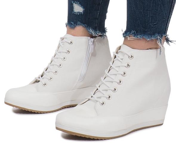 a64019f0 Białe Sneakersy Na Koturnie Capucine Material | Obuwie Gemre online
