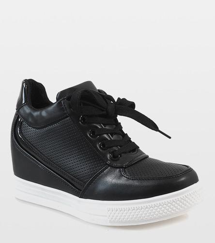 26973af487c14d Czarne sneakersy ze złotym suwakiem MY560   Obuwie Gemre online