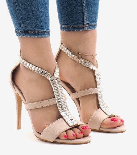9445c48f31f481 Beżowe sandały na szpilce B-60   Obuwie Gemre online