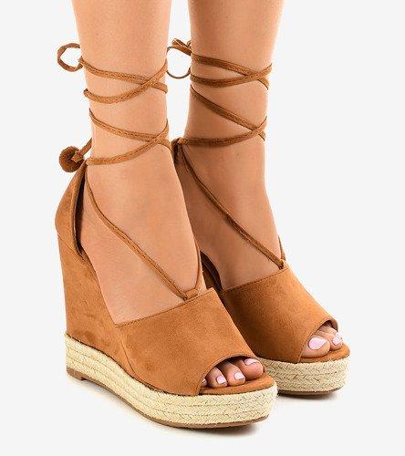 31e419a1 Brązowe sandały na koturnie espadryle F35-18 | Obuwie Gemre online