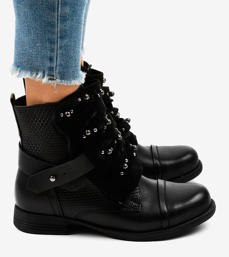 Czarne botki damskie zdobione z suwakiem F1611