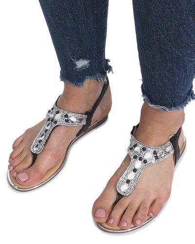 Czarne płaskie sandały z diamentami Larissa