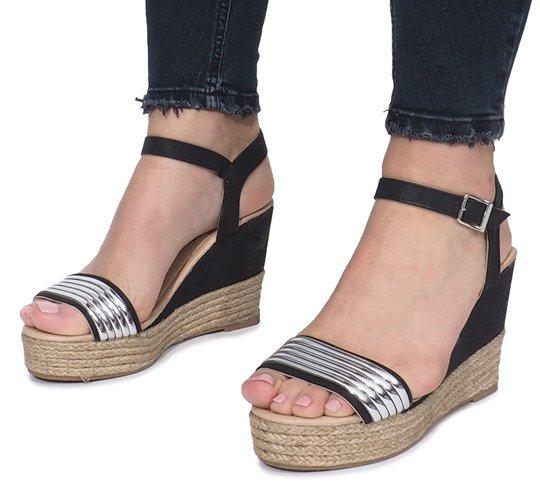 ebf18400e6b01b Czarne sandały na delikatnej koturnie Glam Shine | Obuwie Gemre online