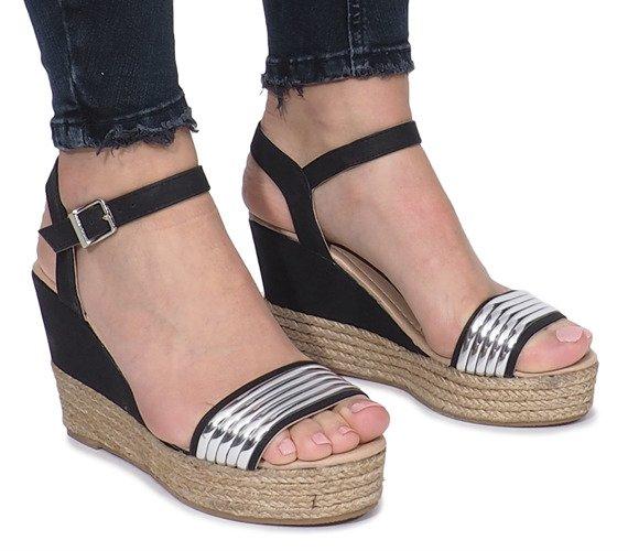32761b2a98e7c0 ... Czarne sandały na delikatnej koturnie Glam Shine Kliknij, aby  powiększyć ...