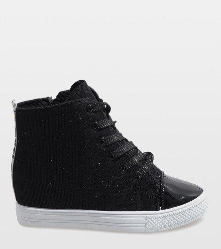 7bb70ce794c11 Czarne sneakersy na koturnie DD385-4 | Obuwie Gemre online