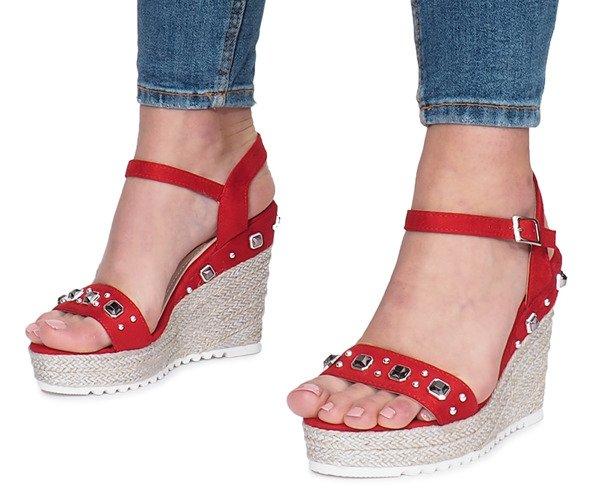 de3e76b1da84f9 ... Czerwone sandały na koturnie Glam Shine Kliknij, aby powiększyć ...