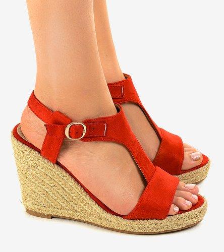 8a89729c Czerwone sandały na koturnie espadryle H-69 | Obuwie Gemre online