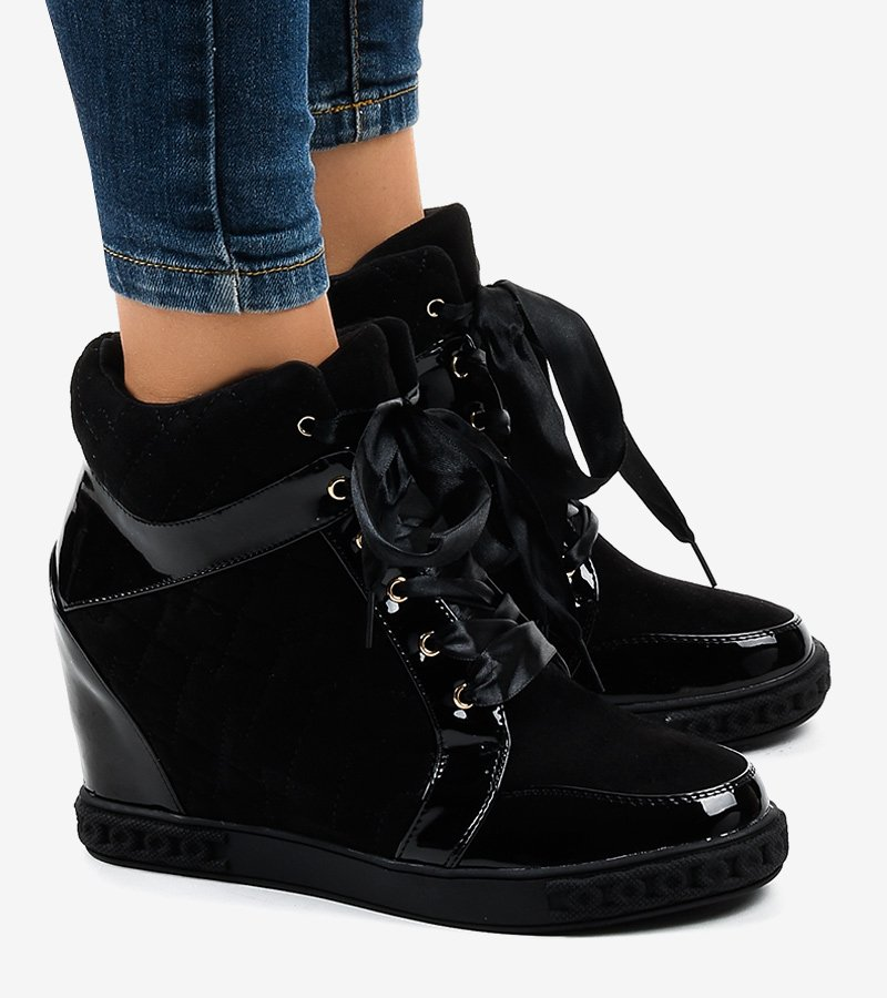 Modne czarne sneakersy na koturnie KLS 109 3