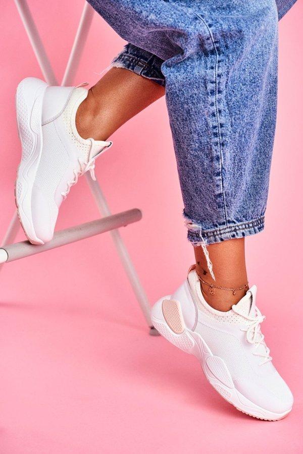 Sportowe Damskie Buty Różowo Białe Fellen