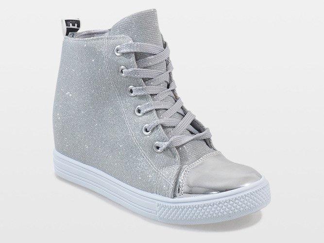 5c798b243af5c Srebrne sneakersy na koturnie DD385-2 | Obuwie Gemre online