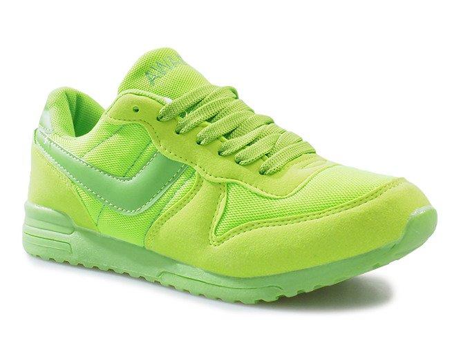 Zielone jaskrawe sportowe trampki na rzep Lola
