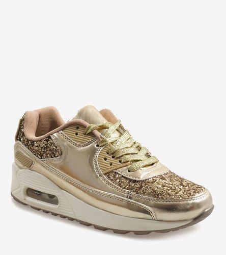 Złote Błyszczące Buty Sportowe B64 1