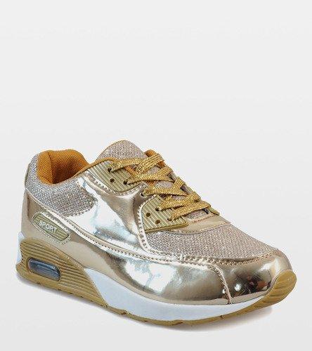 Złote Błyszczące Buty Sportowe EL18297 17