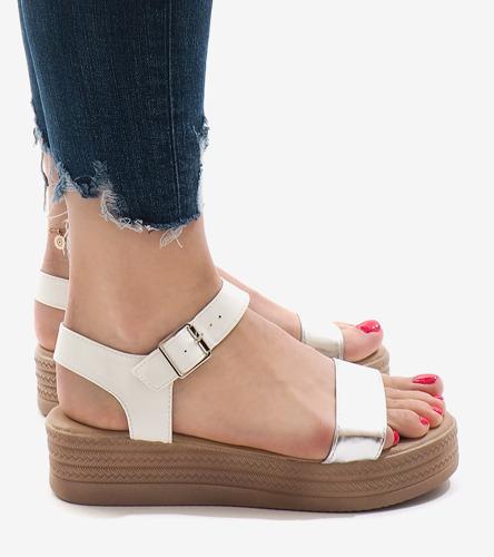 Genialny Białe sandały na platformie 22-07 | Obuwie Gemre online FR25