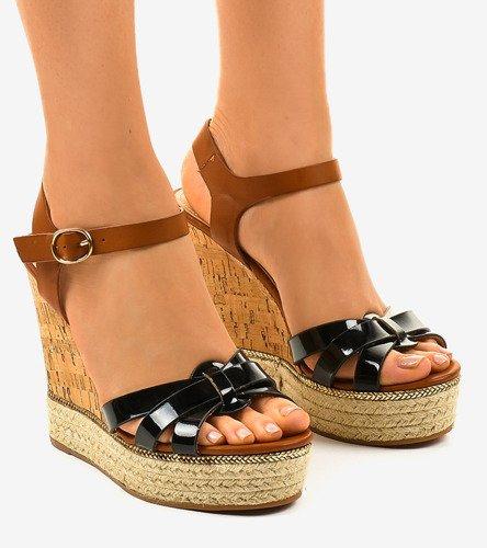Czarne espadryle sandały na koturnie 6032