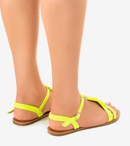 sandały żółte płaskie