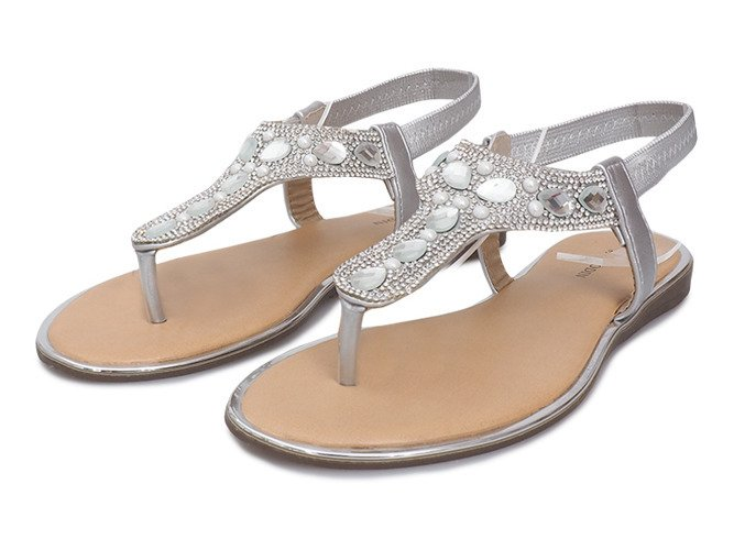 Srebrne płaskie sandały z diamentami Larissa